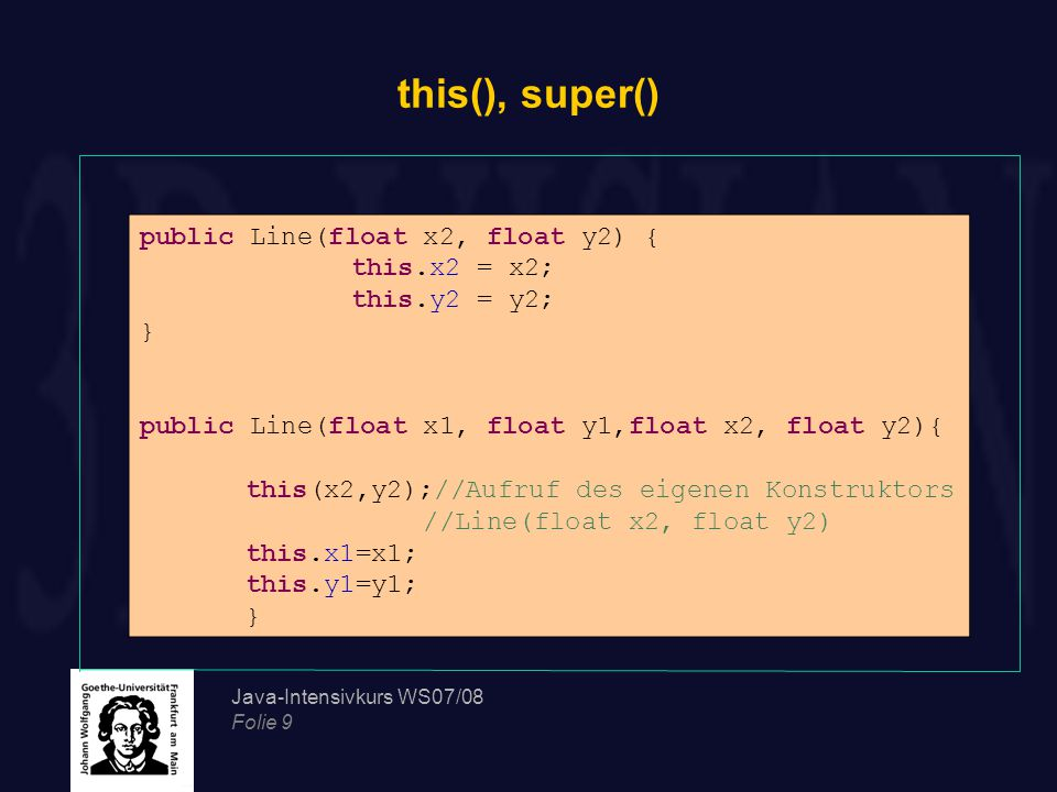 this(), super() public Line(float x2, float y2) { this.x2 = x2;