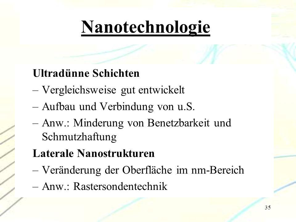 Nanotechnologie Ultradünne Schichten Vergleichsweise gut entwickelt