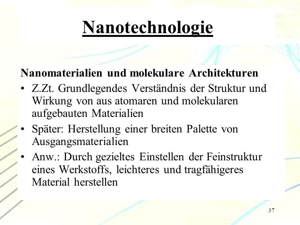Nanotechnologie Nanomaterialien und molekulare Architekturen