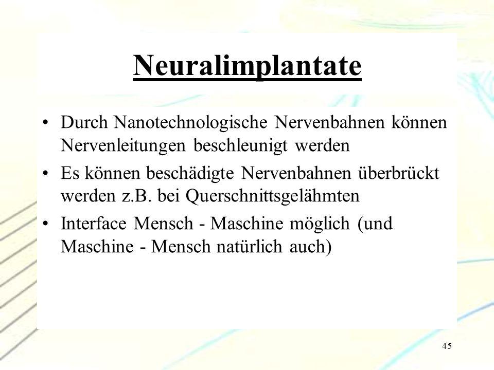 Neuralimplantate Durch Nanotechnologische Nervenbahnen können Nervenleitungen beschleunigt werden.