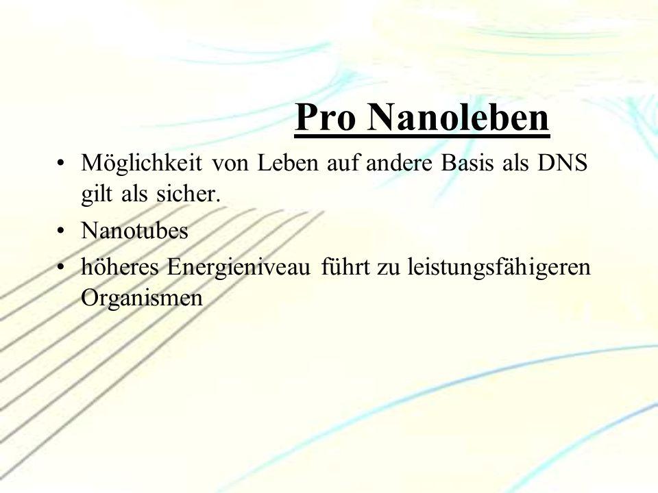 Pro Nanoleben Möglichkeit von Leben auf andere Basis als DNS gilt als sicher. Nanotubes.