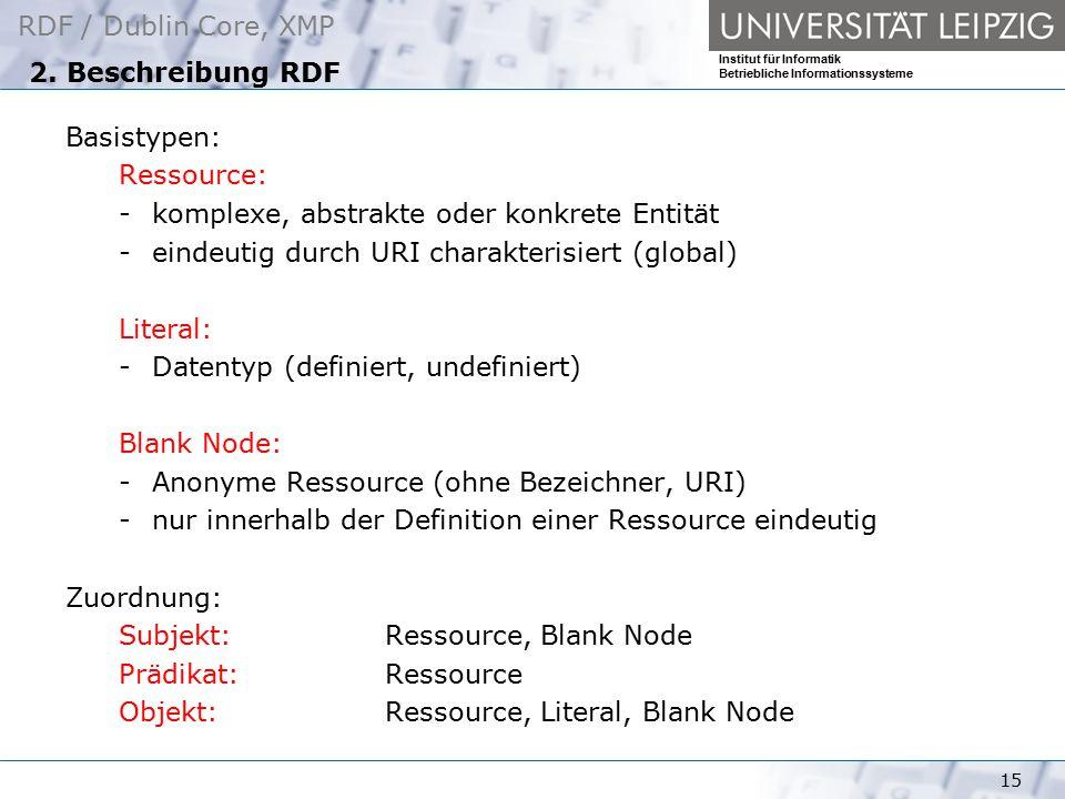 2. Beschreibung RDF Basistypen: Ressource: komplexe, abstrakte oder konkrete Entität. eindeutig durch URI charakterisiert (global)