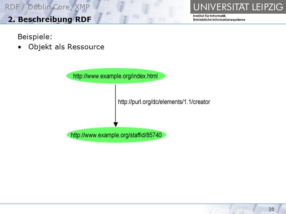 2. Beschreibung RDF Beispiele: Objekt als Ressource