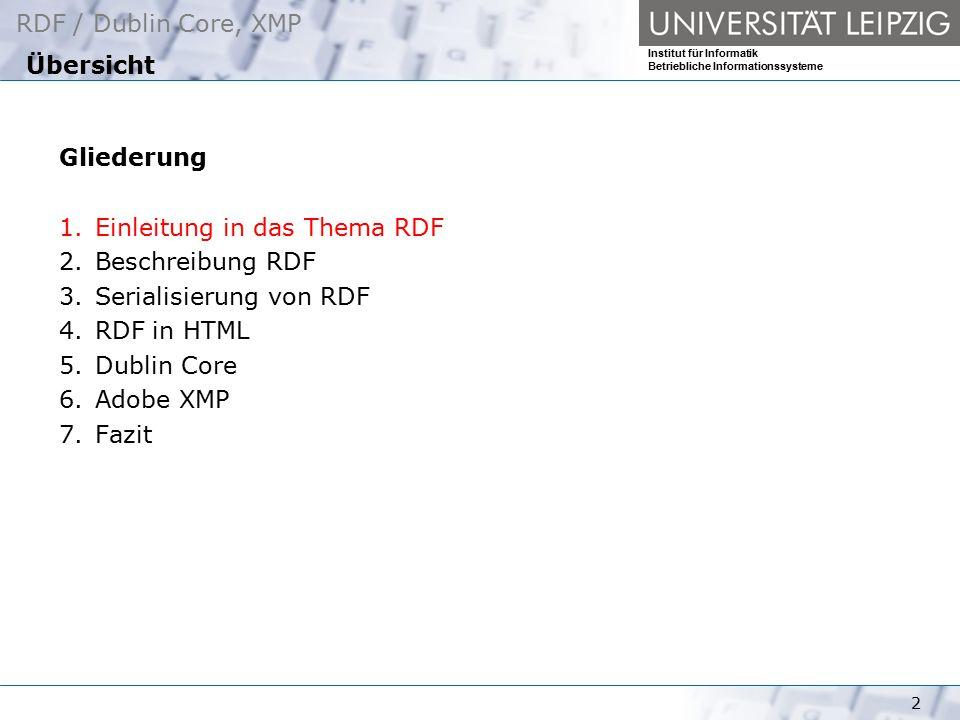 Übersicht Gliederung. Einleitung in das Thema RDF. Beschreibung RDF. Serialisierung von RDF. RDF in HTML.