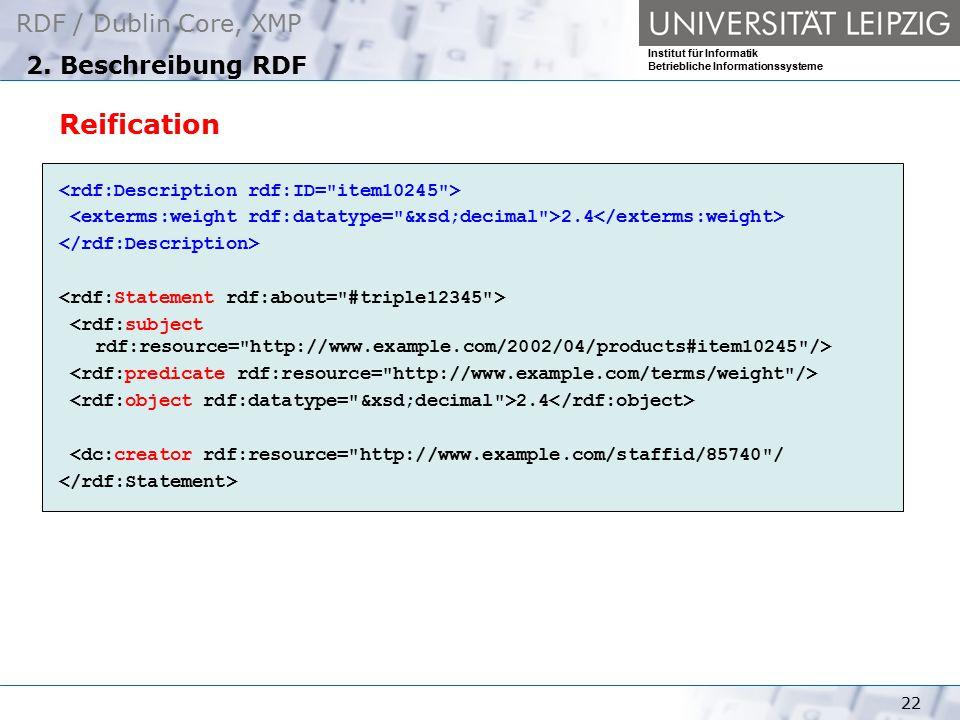 Reification 2. Beschreibung RDF