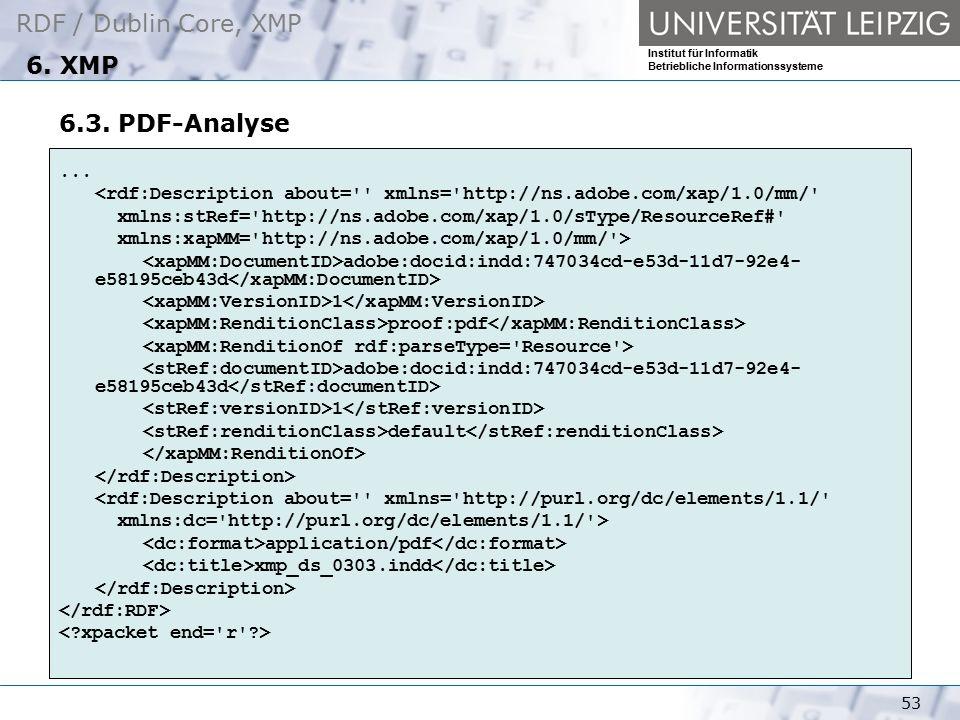 6. XMP 6.3. PDF-Analyse. ... <rdf:Description about= xmlns= http://ns.adobe.com/xap/1.0/mm/