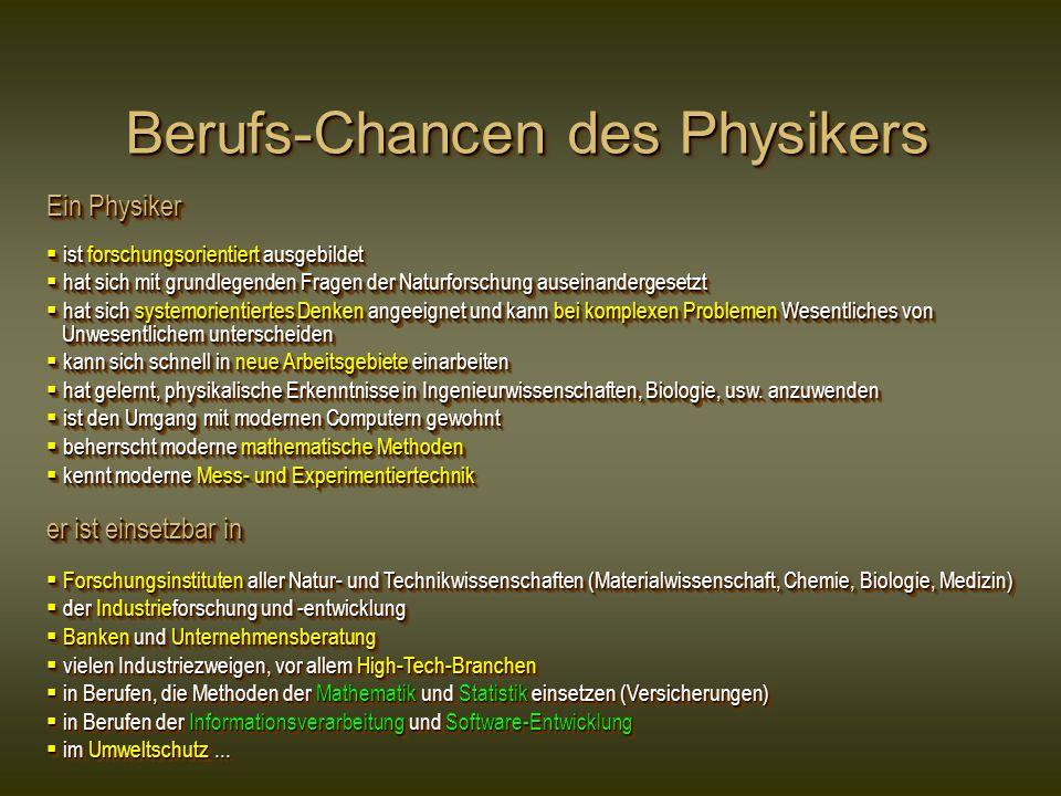 Berufs-Chancen des Physikers