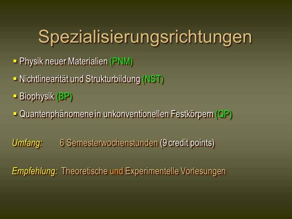 Spezialisierungsrichtungen
