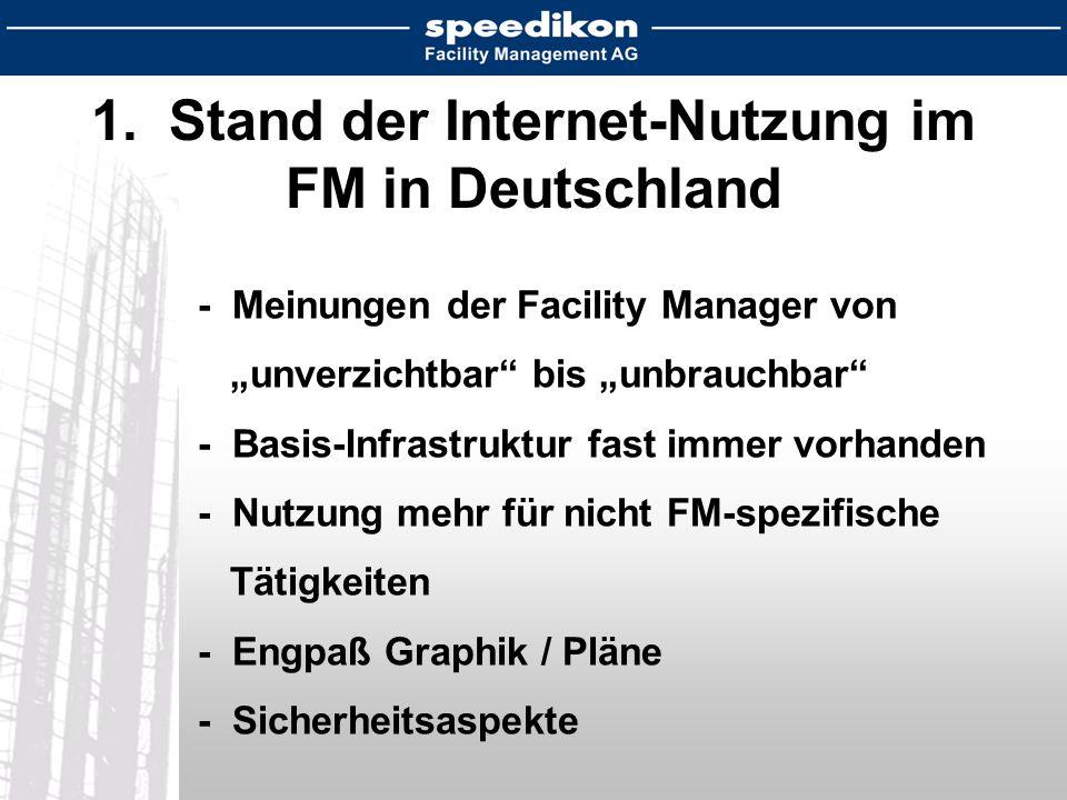 1. Stand der Internet-Nutzung im FM in Deutschland