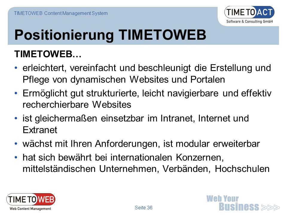 Positionierung TIMETOWEB