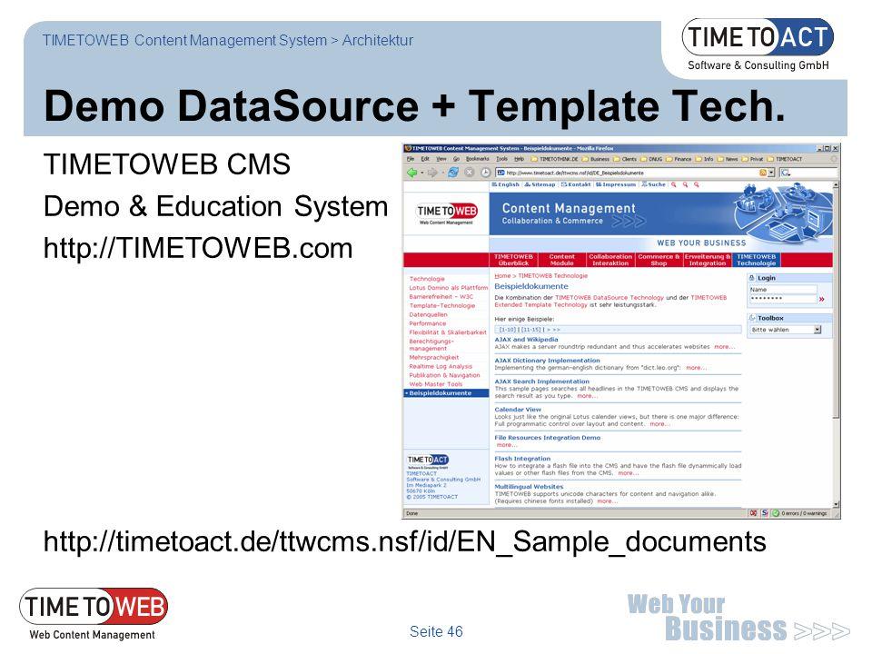 Demo DataSource + Template Tech.