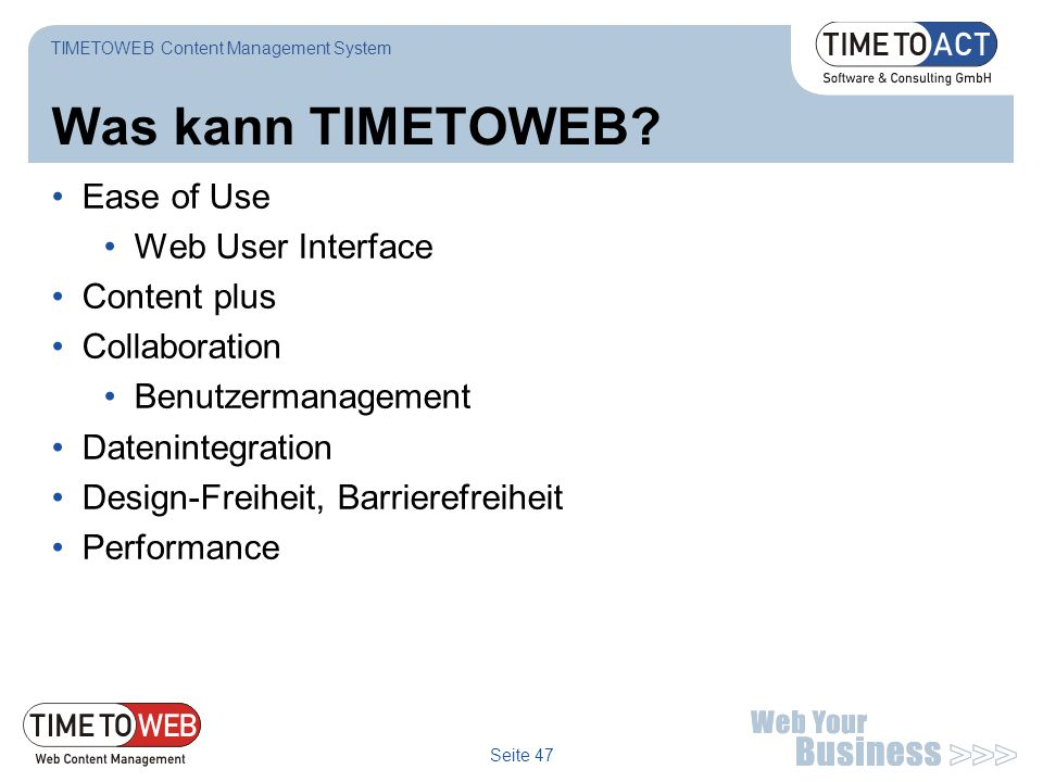 Was kann TIMETOWEB Ease of Use Web User Interface Content plus