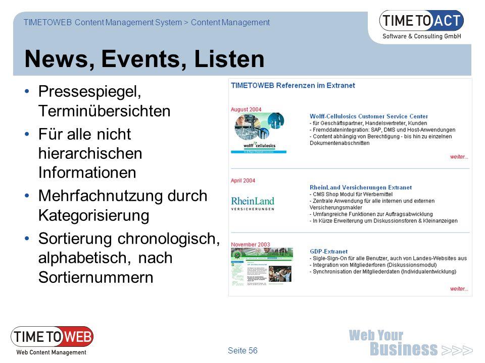 News, Events, Listen Pressespiegel, Terminübersichten