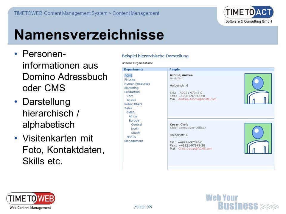 TIMETOWEB Content Management System > Content Management