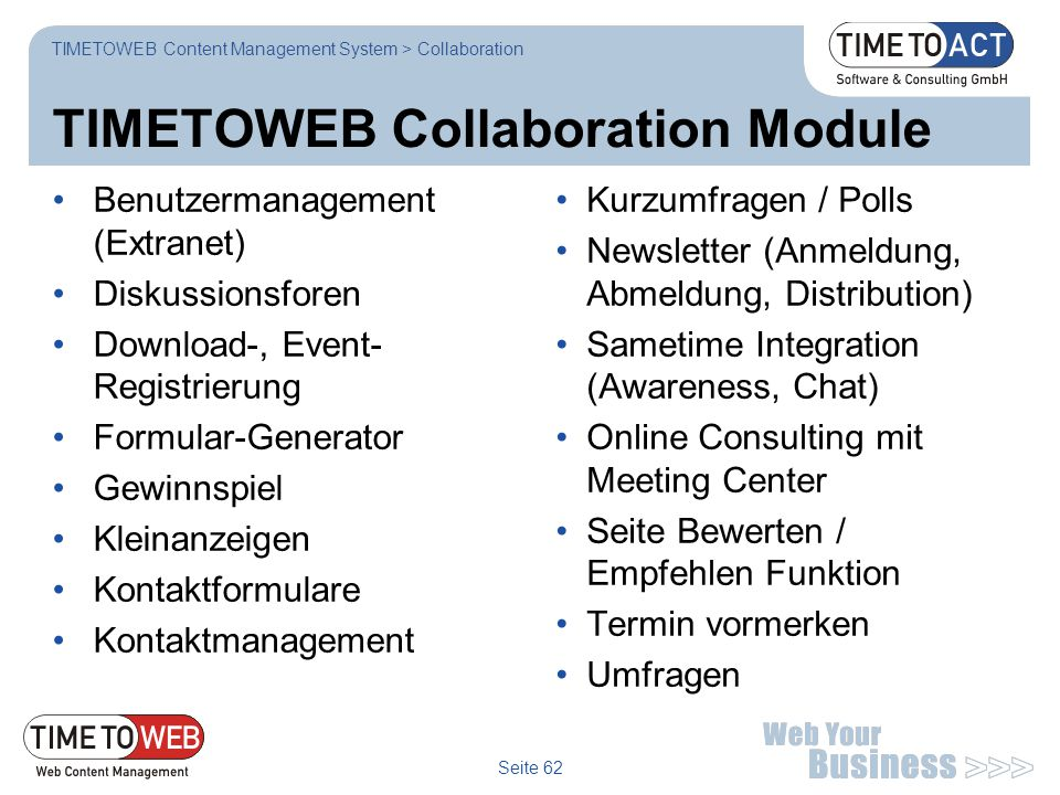 TIMETOWEB Collaboration Module