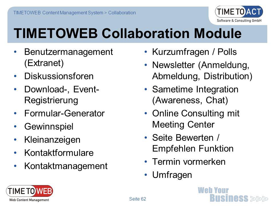 TIMETOWEB Collaboration Module