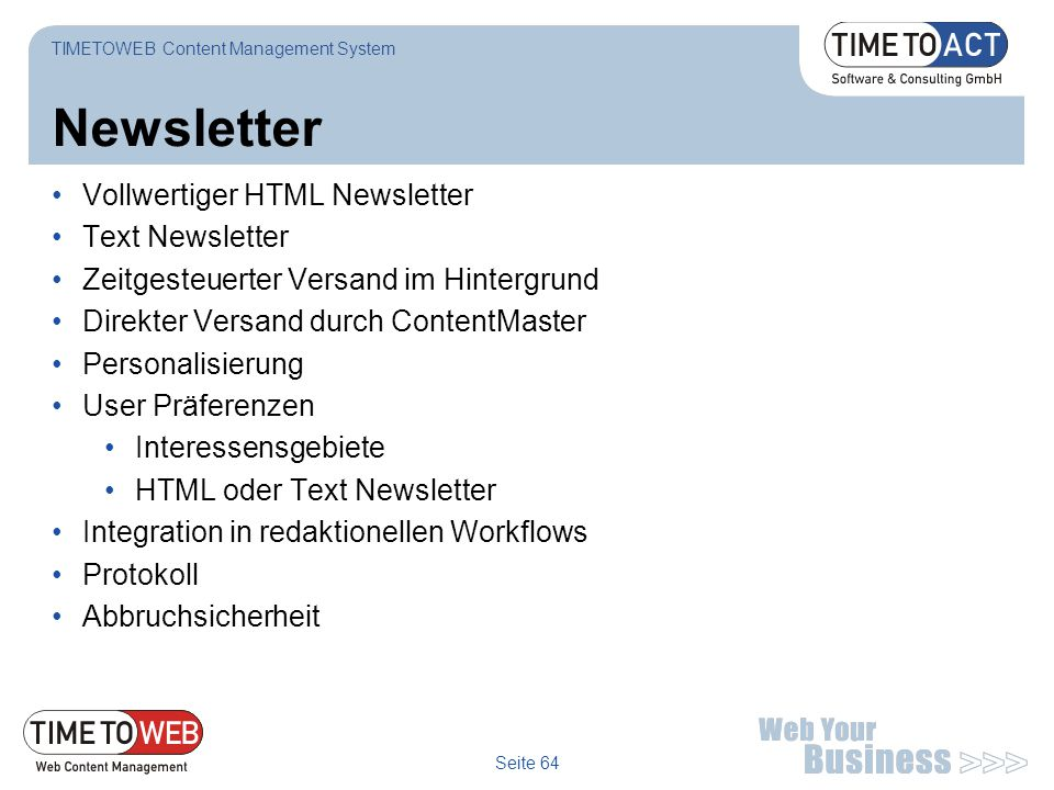 Newsletter Vollwertiger HTML Newsletter Text Newsletter