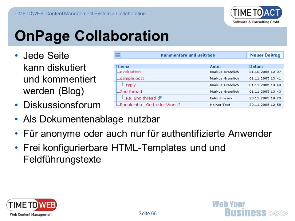 TIMETOWEB Content Management System > Collaboration