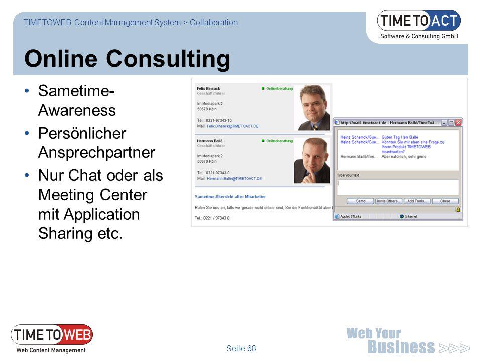 Online Consulting Sametime-Awareness Persönlicher Ansprechpartner