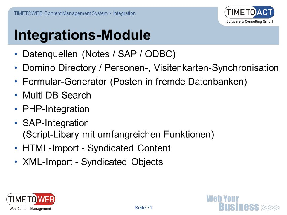 Integrations-Module Datenquellen (Notes / SAP / ODBC)