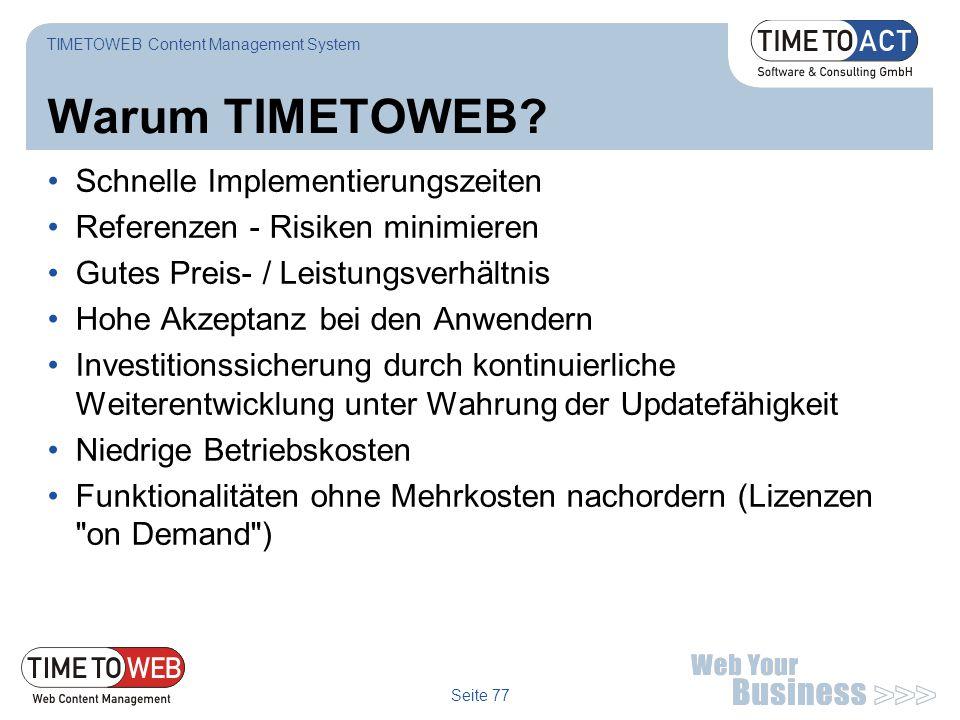 Warum TIMETOWEB Schnelle Implementierungszeiten