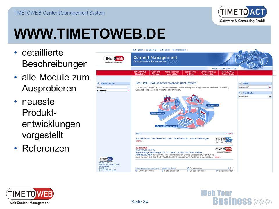 WWW.TIMETOWEB.DE detaillierte Beschreibungen