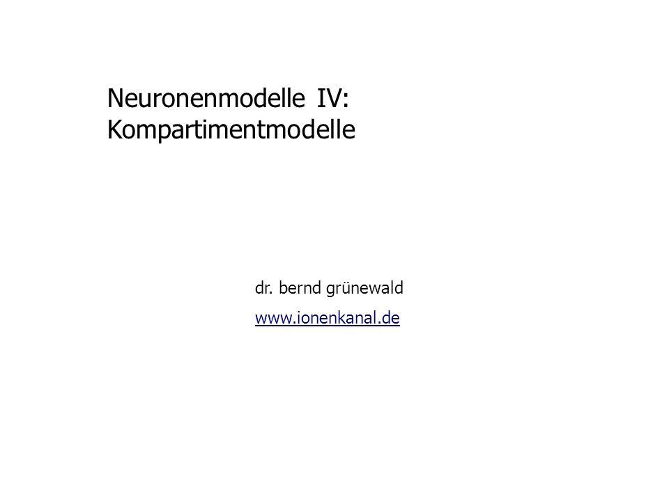 Neuronenmodelle IV: Kompartimentmodelle dr. bernd grünewald