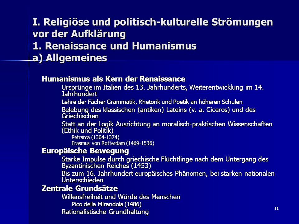 I. Religiöse und politisch-kulturelle Strömungen vor der Aufklärung 1