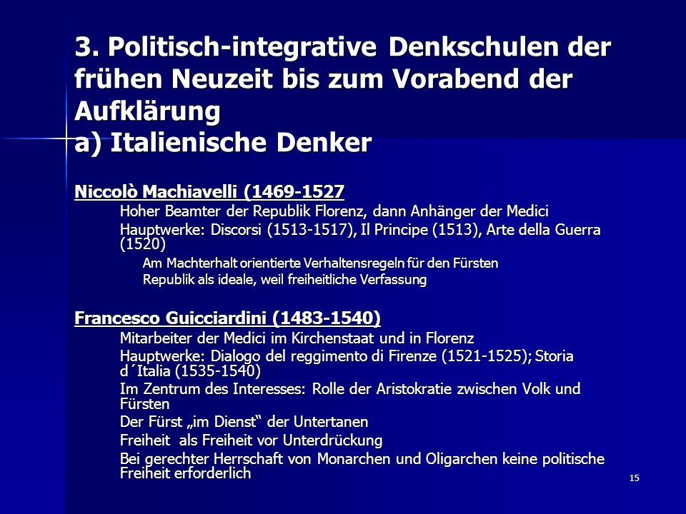 3. Politisch-integrative Denkschulen der frühen Neuzeit bis zum Vorabend der Aufklärung a) Italienische Denker