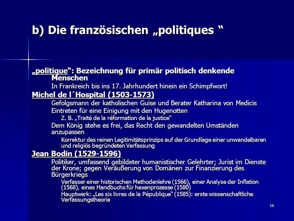 """b) Die französischen """"politiques"""