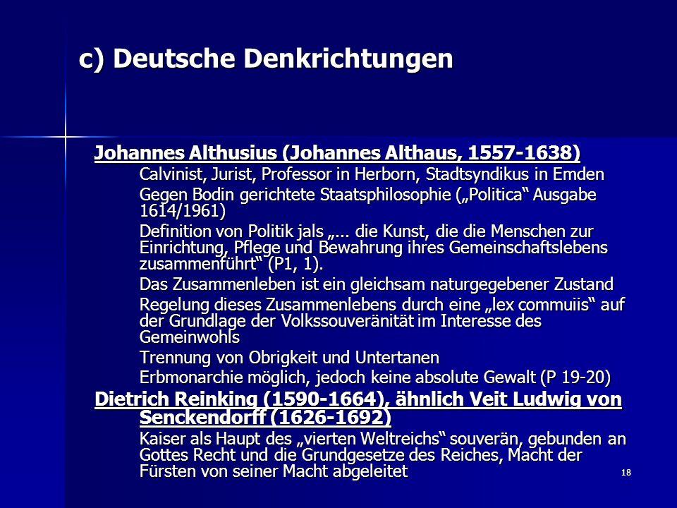 c) Deutsche Denkrichtungen