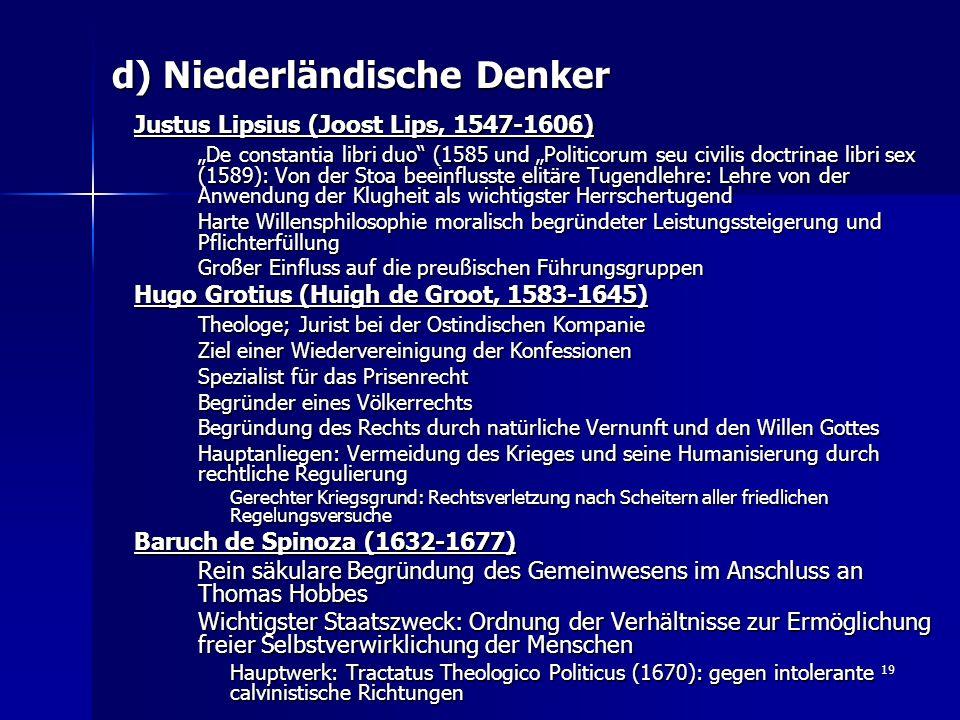d) Niederländische Denker