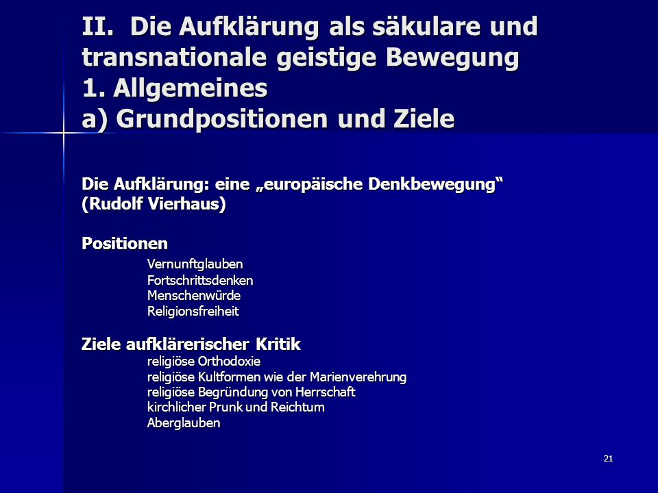 II. Die Aufklärung als säkulare und transnationale geistige Bewegung 1