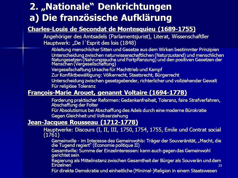 """2. """"Nationale Denkrichtungen a) Die französische Aufklärung"""