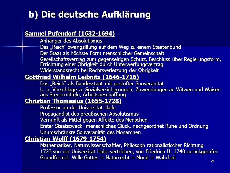 b) Die deutsche Aufklärung