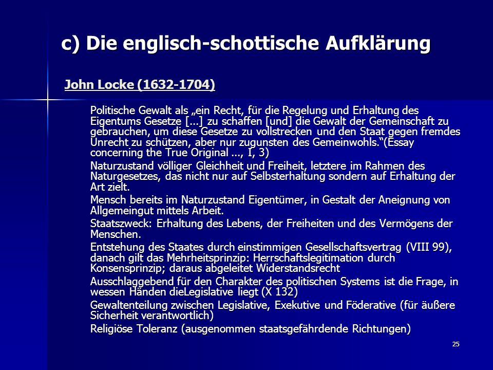 c) Die englisch-schottische Aufklärung John Locke (1632-1704)