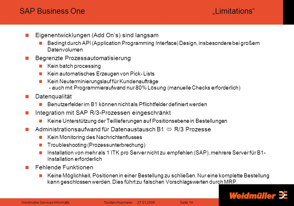 "SAP Business One ""Limitations"