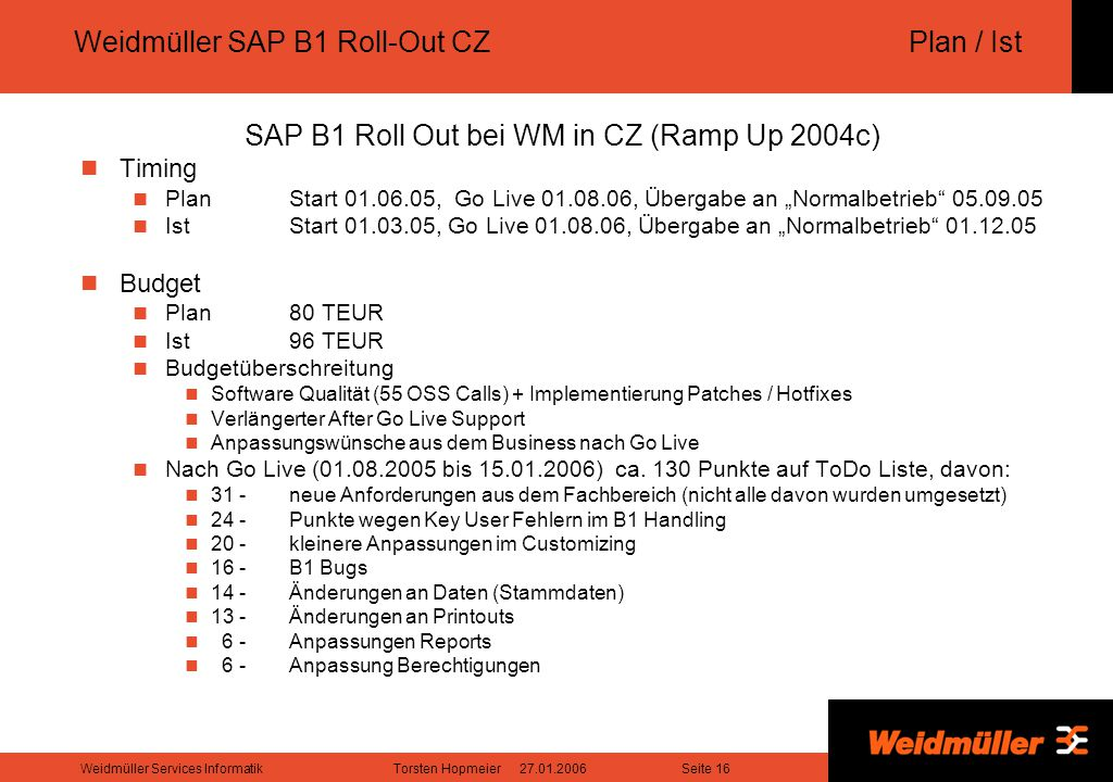 Weidmüller SAP B1 Roll-Out CZ Plan / Ist