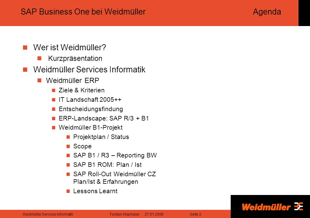 SAP Business One bei Weidmüller Agenda