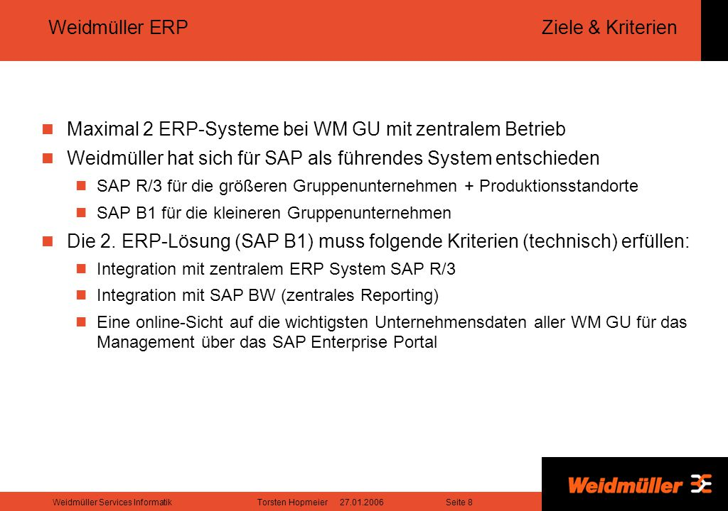 Weidmüller ERP Ziele & Kriterien