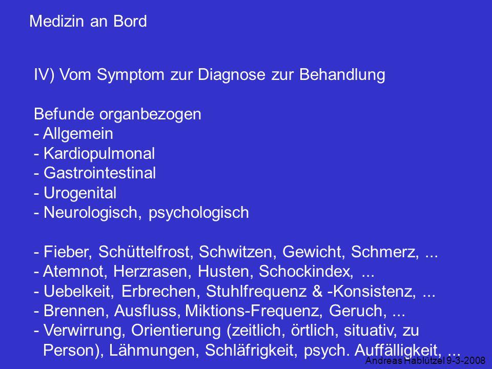 IV) Vom Symptom zur Diagnose zur Behandlung Befunde organbezogen