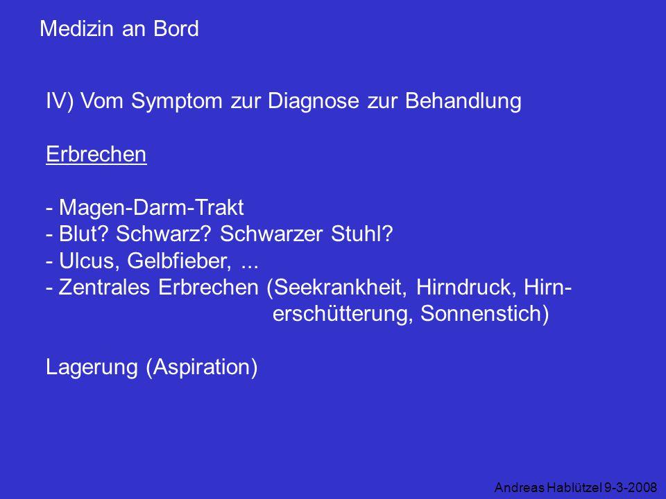 IV) Vom Symptom zur Diagnose zur Behandlung Erbrechen