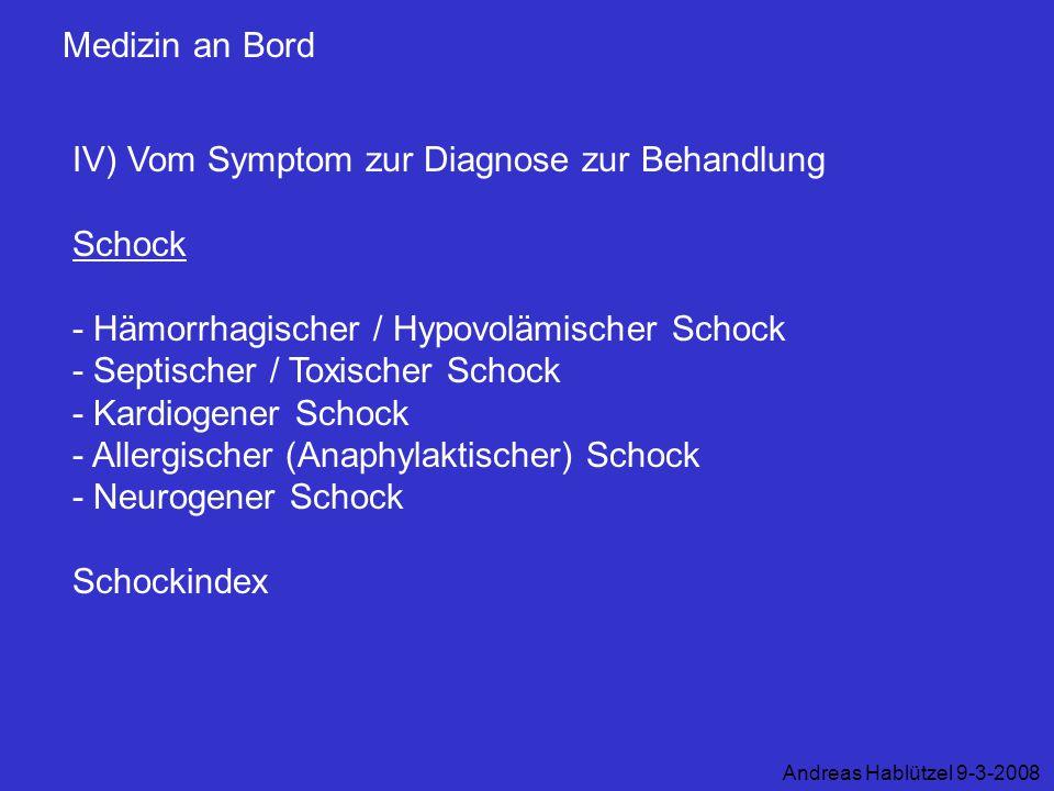 IV) Vom Symptom zur Diagnose zur Behandlung Schock