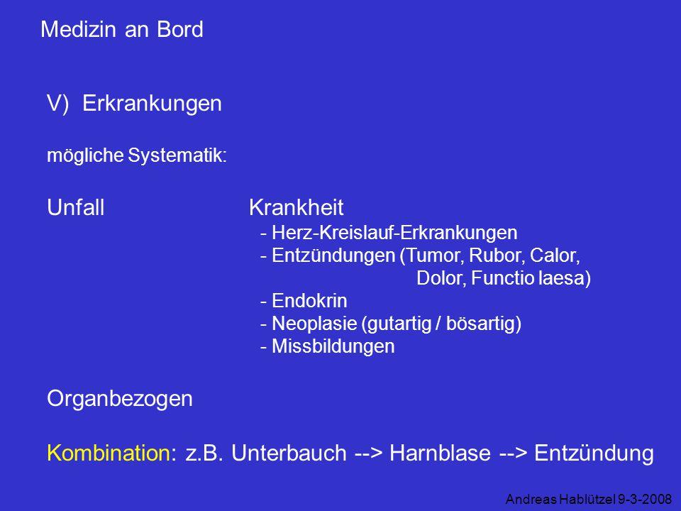 Kombination: z.B. Unterbauch --> Harnblase --> Entzündung