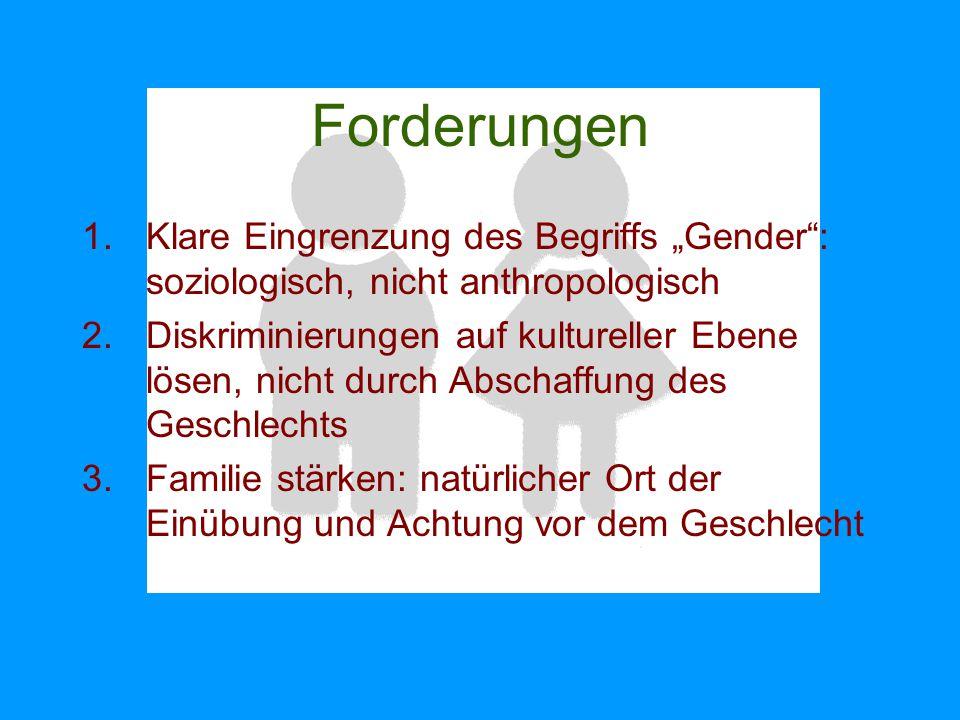 """Forderungen Klare Eingrenzung des Begriffs """"Gender : soziologisch, nicht anthropologisch."""