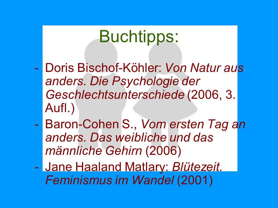 Buchtipps: Doris Bischof-Köhler: Von Natur aus anders. Die Psychologie der Geschlechtsunterschiede (2006, 3. Aufl.)