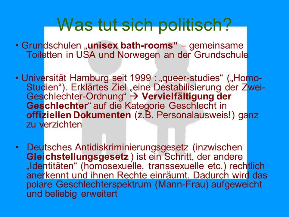 """Was tut sich politisch • Grundschulen """"unisex bath-rooms – gemeinsame Toiletten in USA und Norwegen an der Grundschule."""