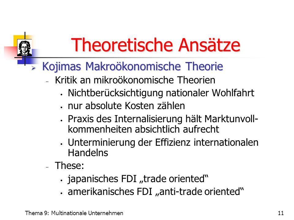 Theoretische Ansätze Kojimas Makroökonomische Theorie