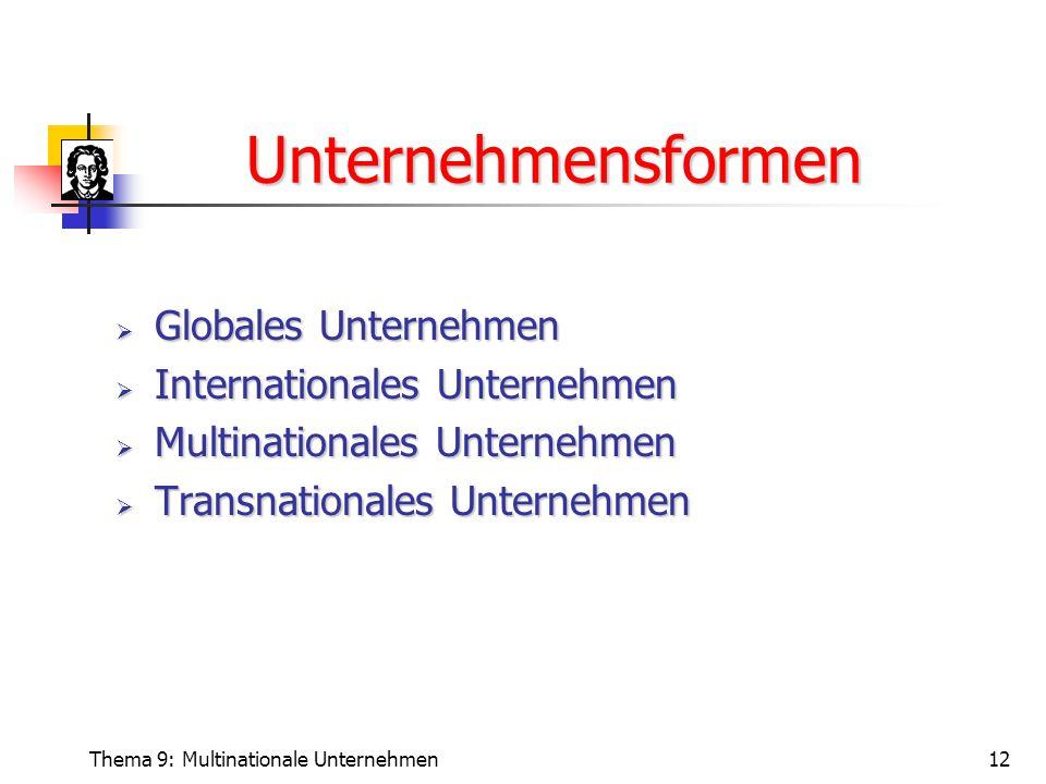 Unternehmensformen Globales Unternehmen Internationales Unternehmen