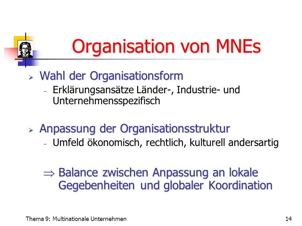 Organisation von MNEs Wahl der Organisationsform